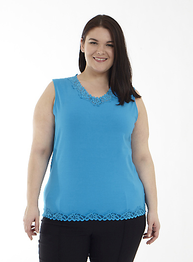 V-Neck Tank with Lace Trim