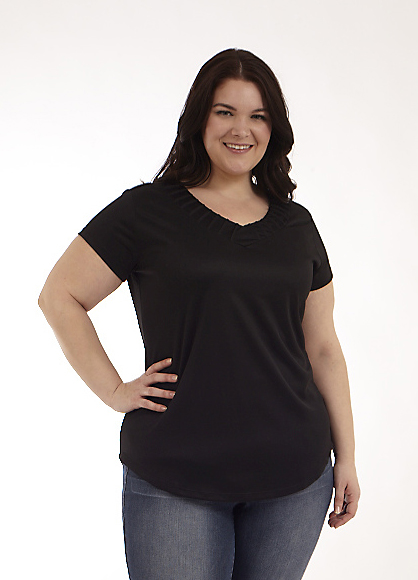 Short Sleeve Top with Pintuck