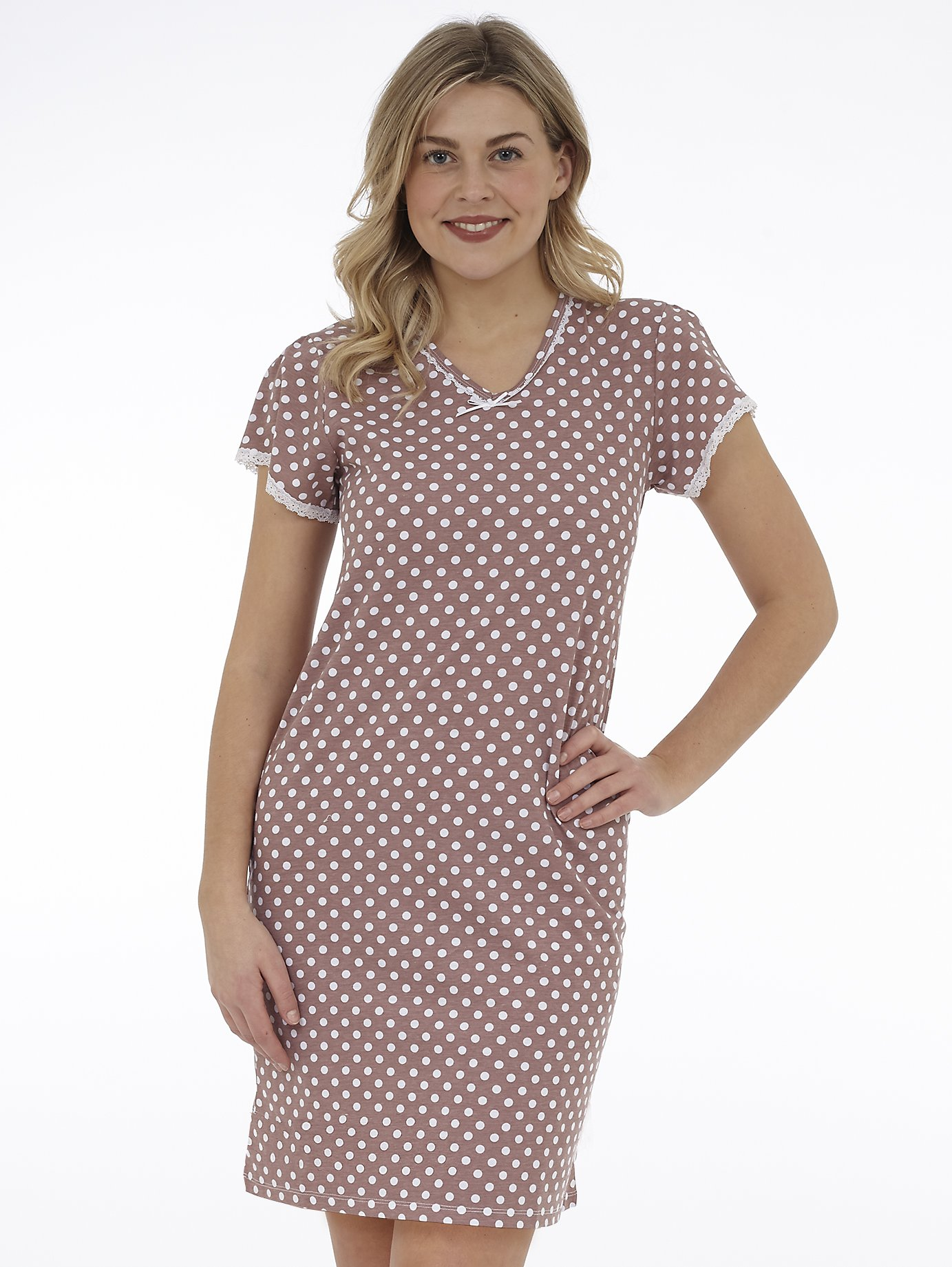 Short Sleeve Printed Nightgown with Lace Trim