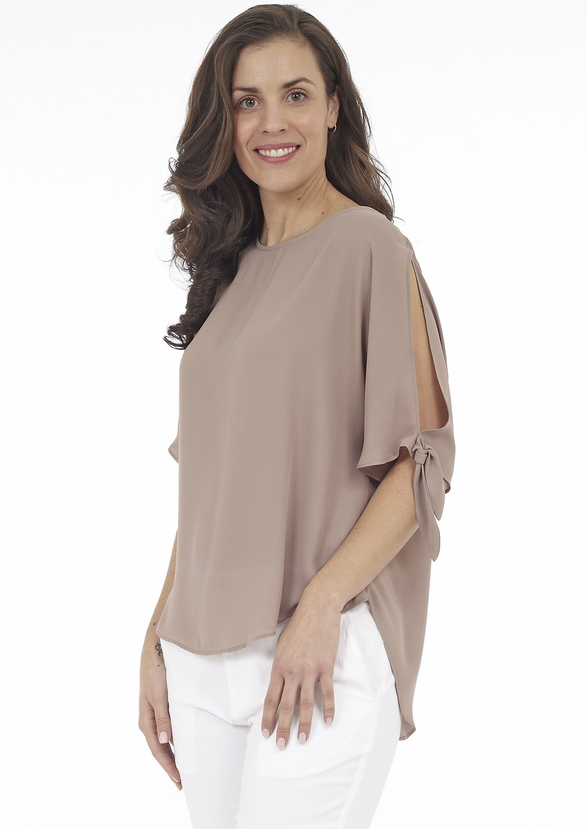 Scoop Front and Back Blouses with Sleeve Tie
