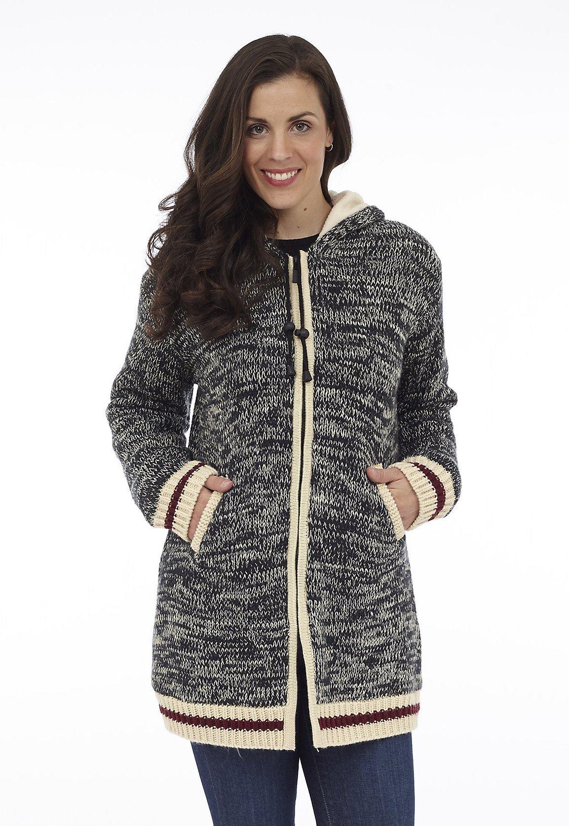Full Zip Hooded Long Sweater Jacket