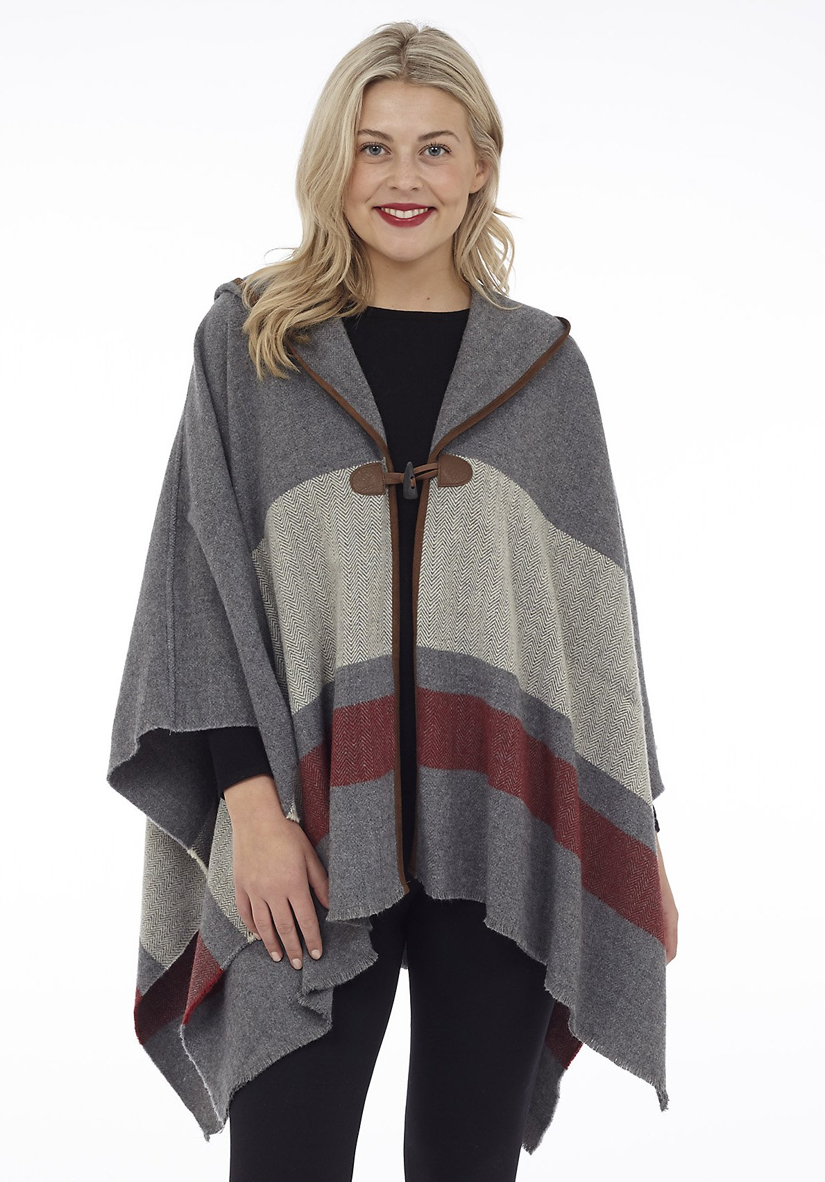 Hooded Cape with Faux Leather Trim