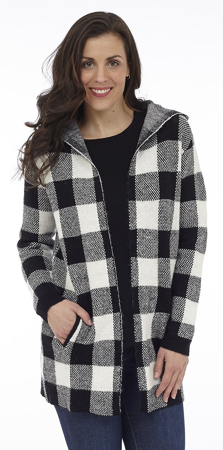Buffalo Check Hooded Sweater Jacket