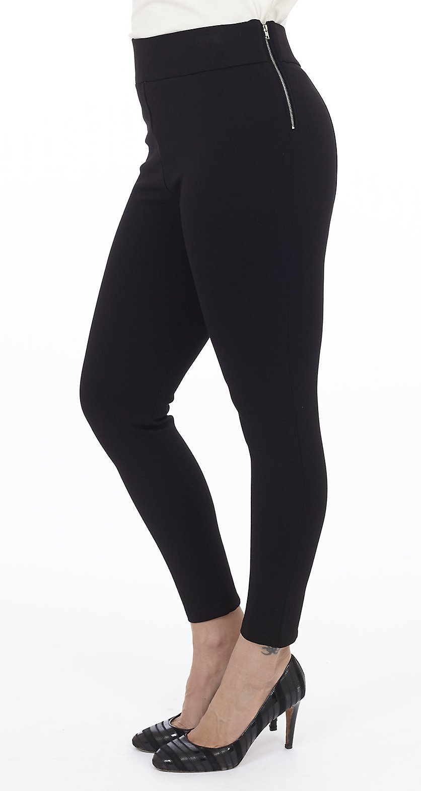 High Rise Ponte Pant with Side Zipper