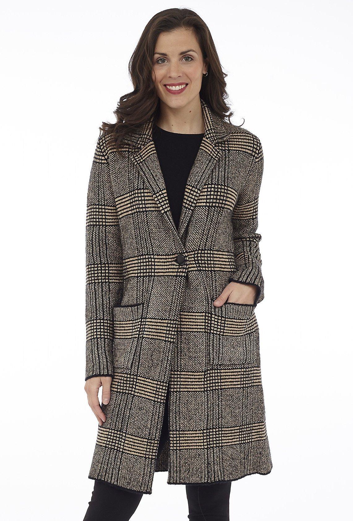 Plaid Knit Jacket with Pockets