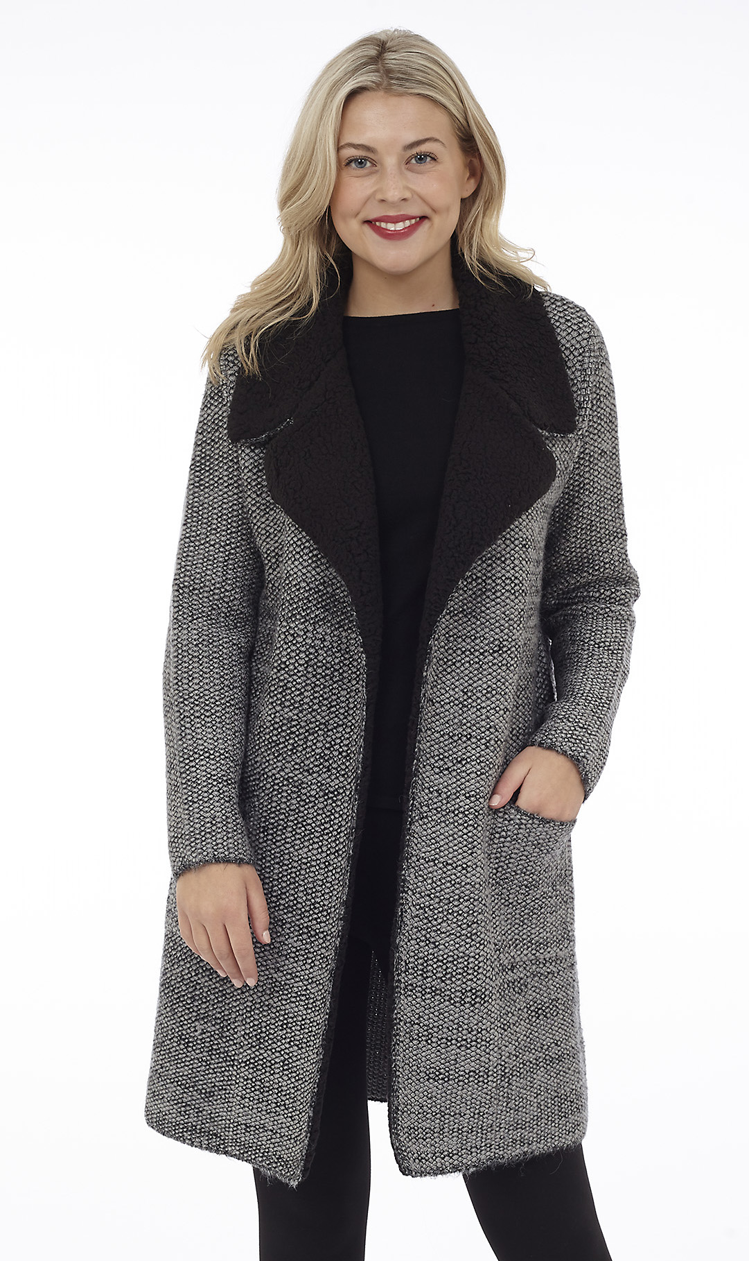 Open Knit Jacket with Faux Shearling Collar